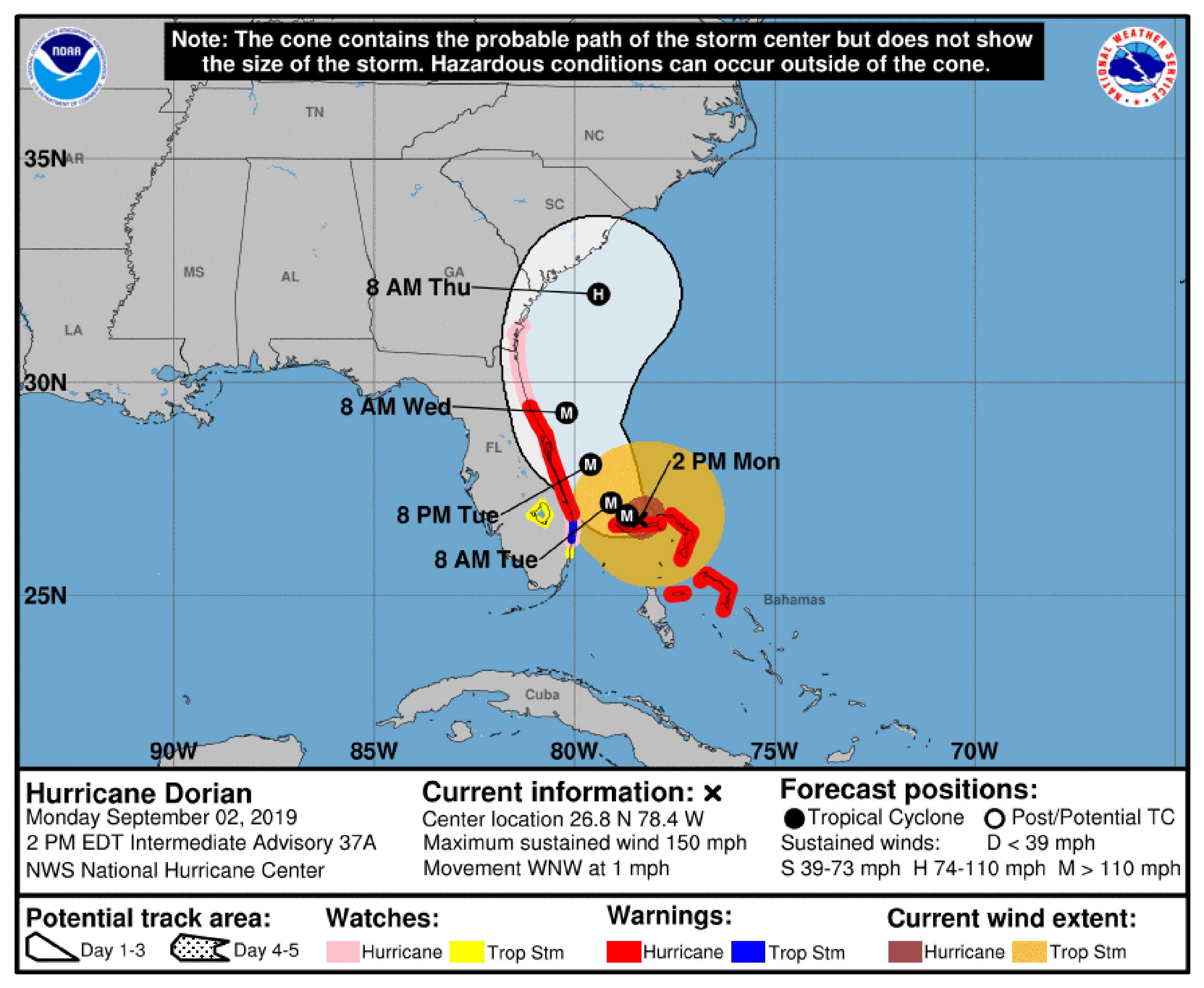 Hurricane Dorian 2pm 2 September 2019