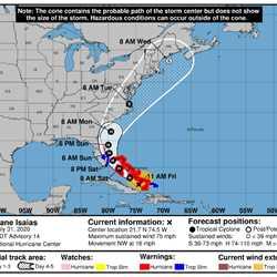 Hurricane Isaias July 31 11am