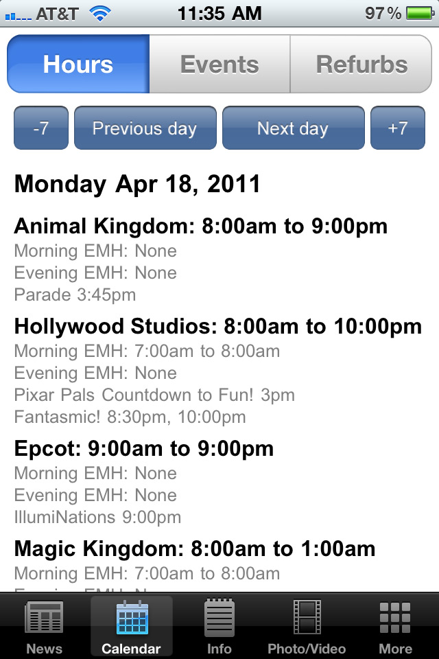 WDWMAGIC App V1.1 screenshots - new Calendar features