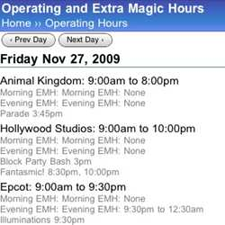 WDWMAGIC Mobile Calendar enhanced features