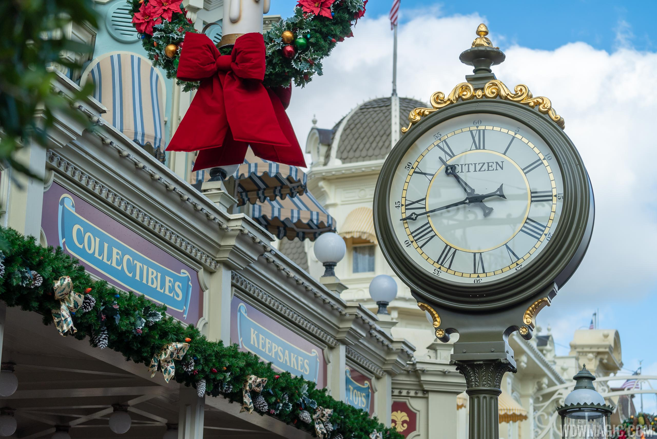 Newly branded Citizen in-park clock on Main Street U.S.A.