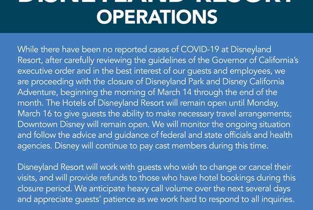 Disneyland closed due to Coronavirus