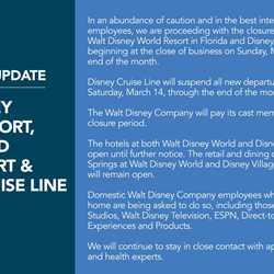 Walt Disney World closure notice due to coronavirus