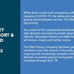 Walt Disney World closure notice due to coronavirus
