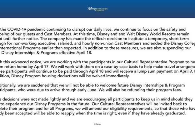 Disney College Program Fall cancellation notice