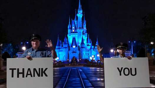 Cinderella Castle shines blue in Honor of World Health Day and salute to medical personnel