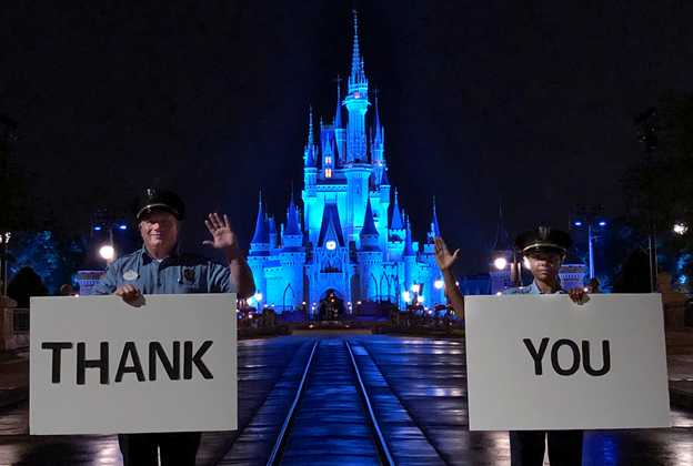 Cinderella Castle Shines Blue at Magic Kingdom Park in Honor of World Health Day