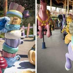 Shanghai Disneyland social distancing in queues