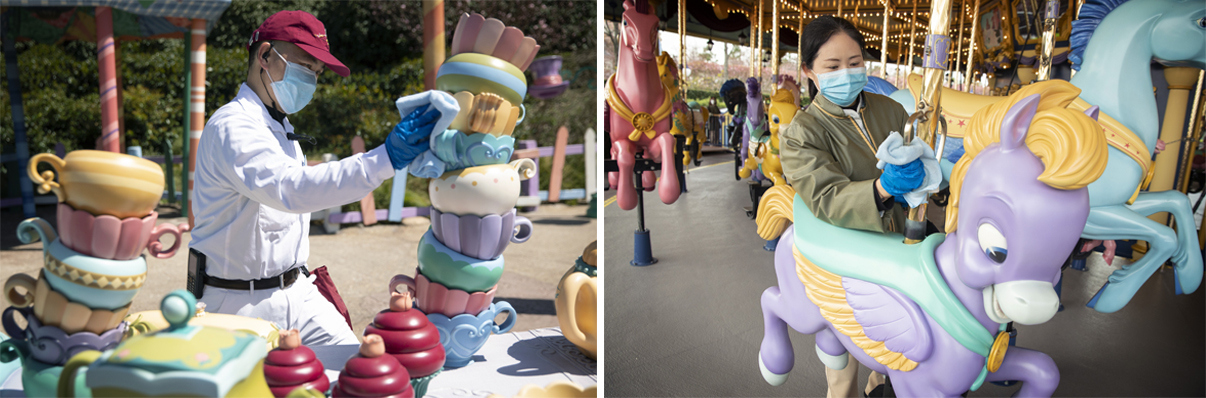 The frequency of sanitization measures will be increased in order to augment the standards of cleanliness already in place throughout Shanghai Disneyland.