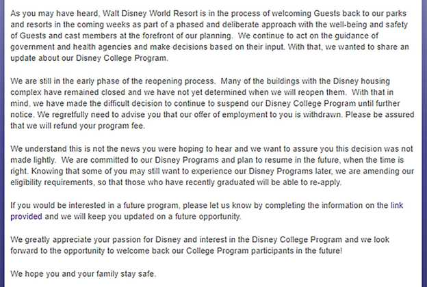 Disney College Program update July 2020