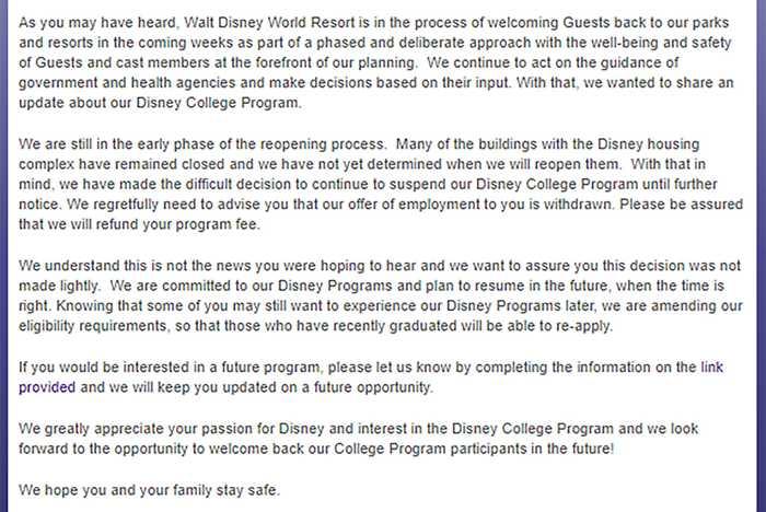 Disney College Program update July 2020