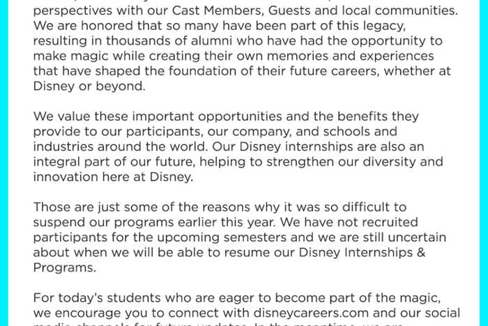 Disney Internships and Programs updates - December 2020