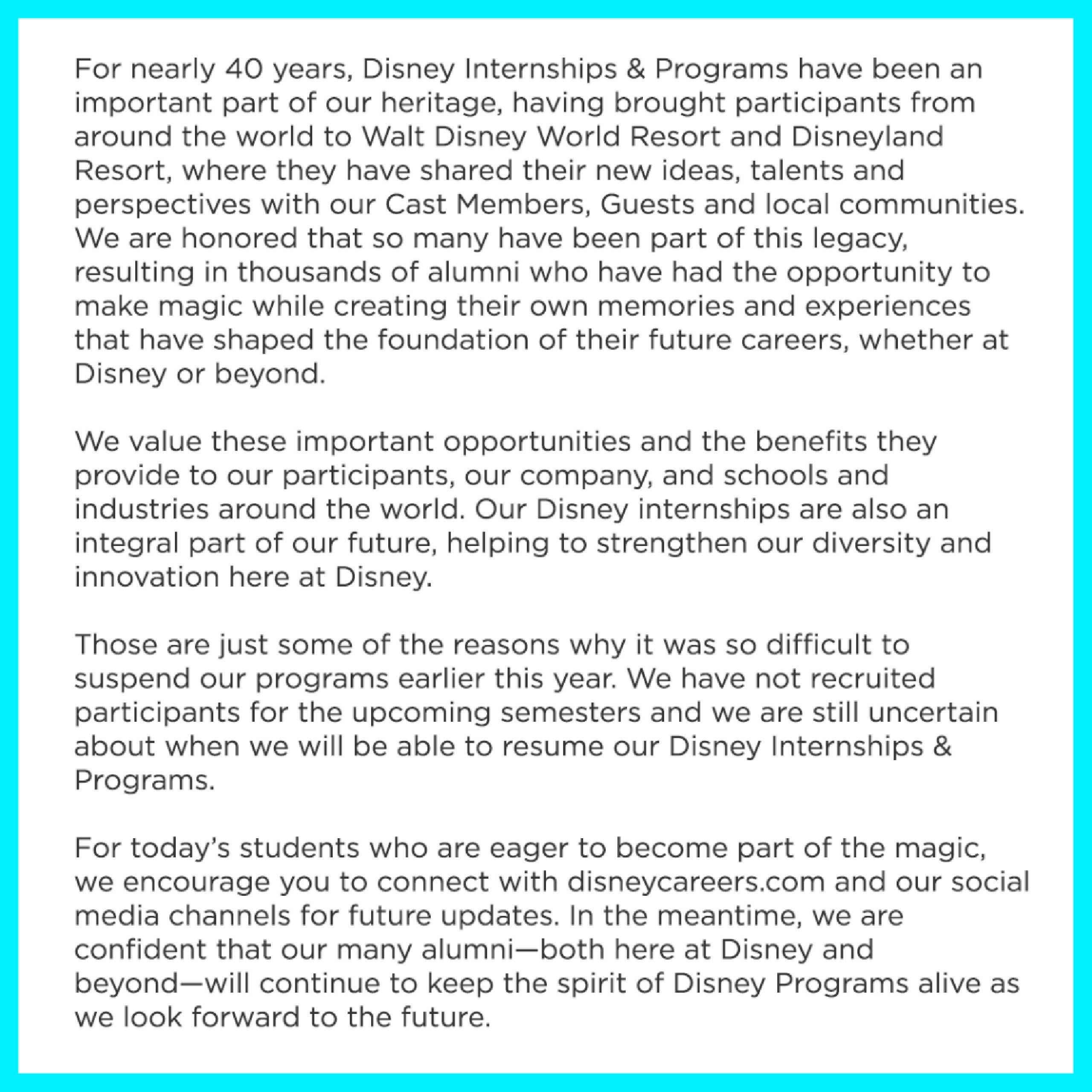 Disney Internships and Programs updates - December 2020