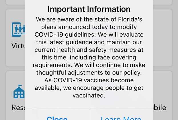 Disney World statement on Florida Governor Executive Order lifting local mandates