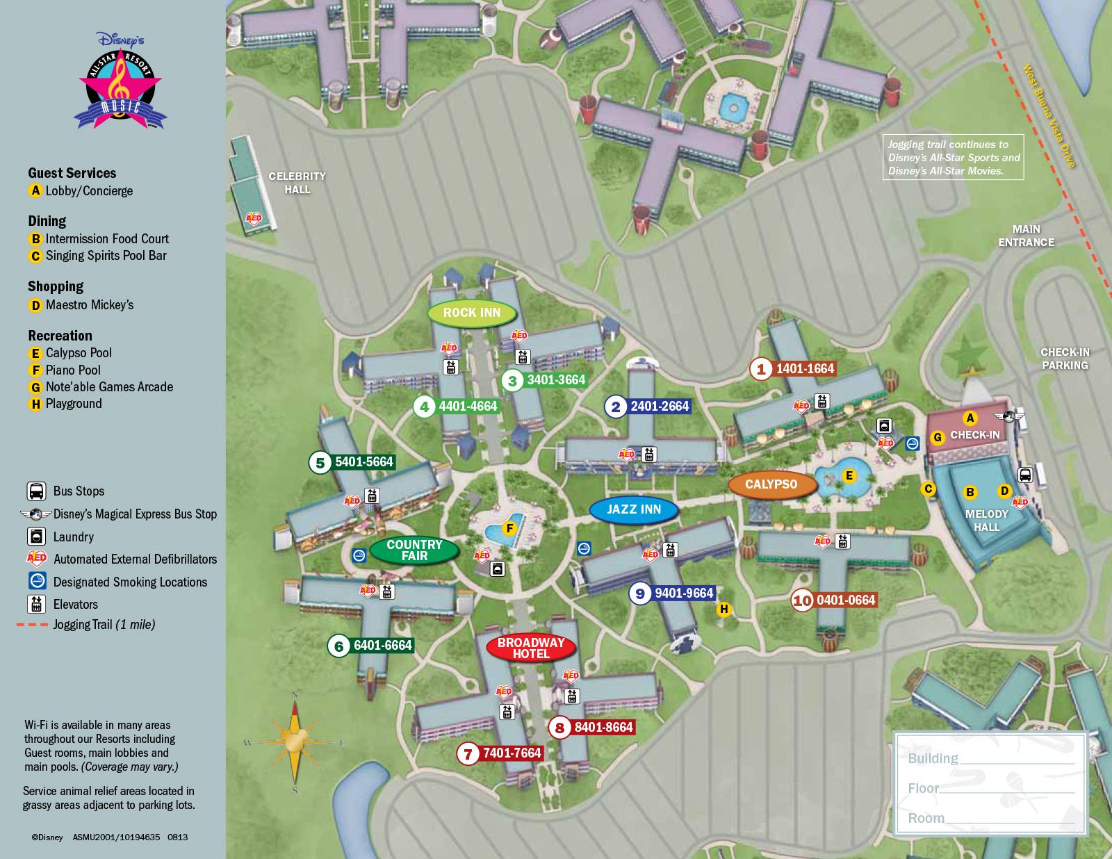 All Star Music Resort Map Disney's All Star Music Resort