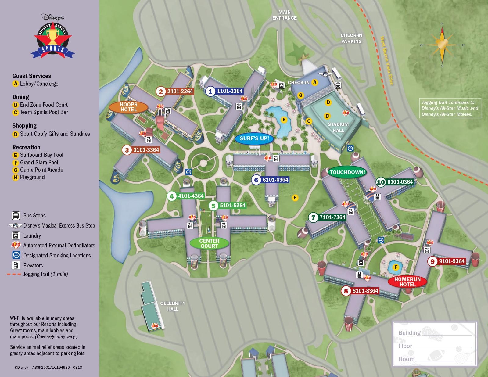All Star Sports Resort Map Disney's All Star Sports Resort All Star Sports Resort Map