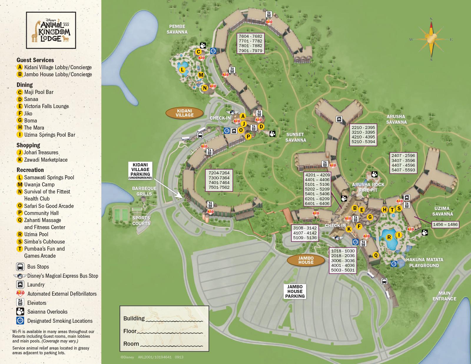 2013 Animal Kingdom Lodge guide map