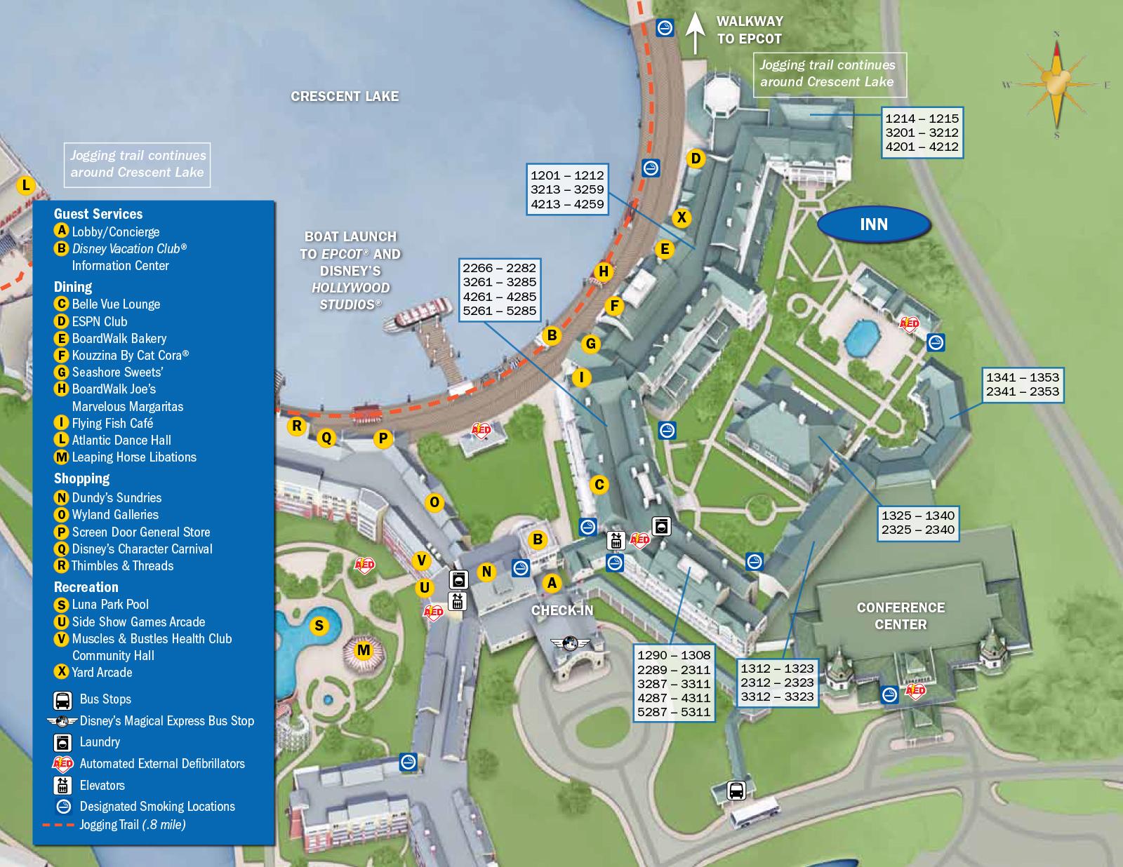 2013 BoardWalk Villas guide map