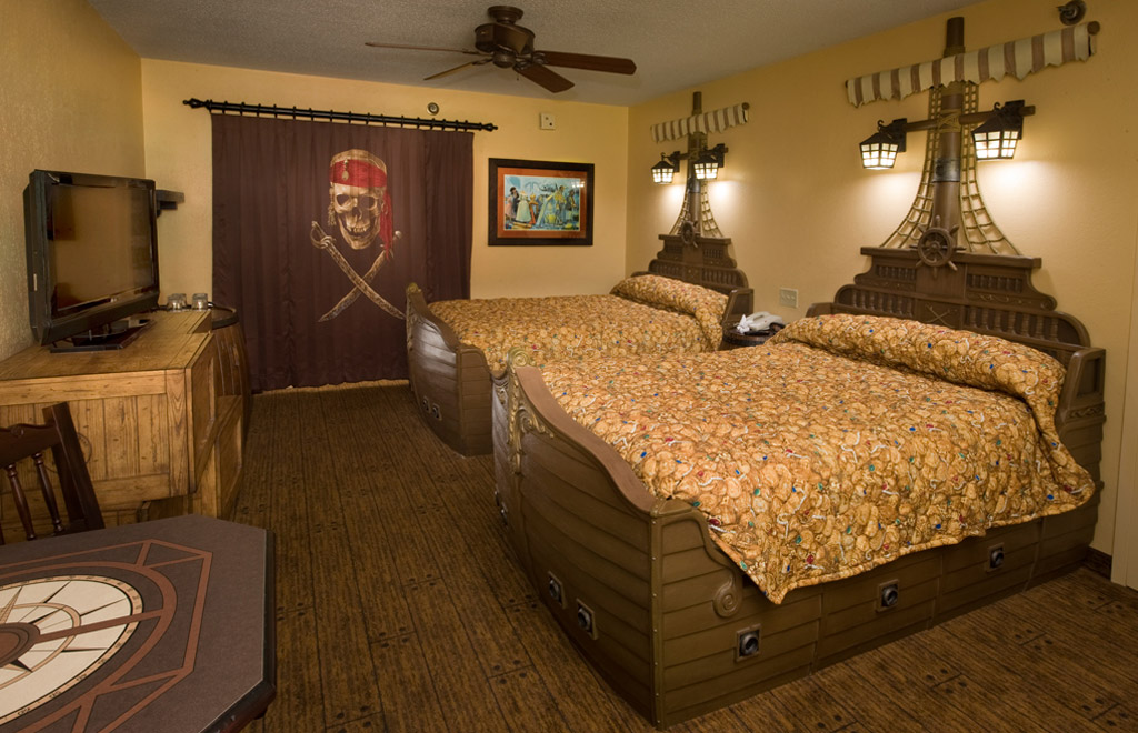 A look at a completed Pirates of the Caribbean room at the Caribbean Beach Resort