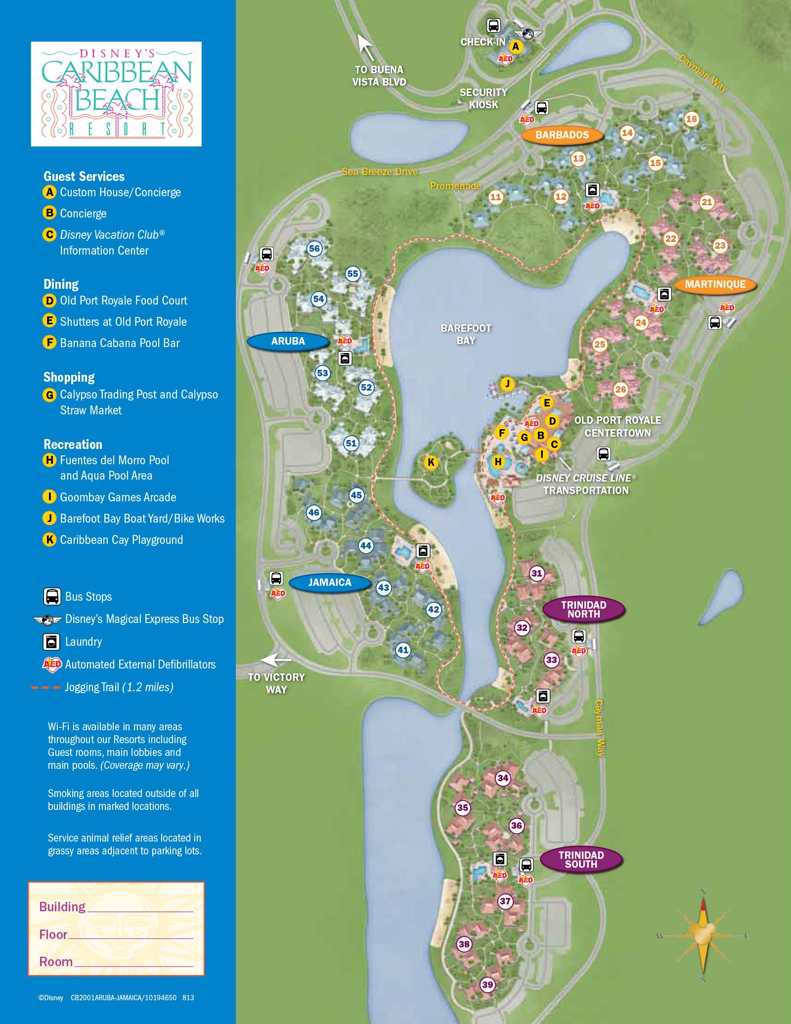 2013 Caribbean Beach Resort guide map - Photo 1 of 6