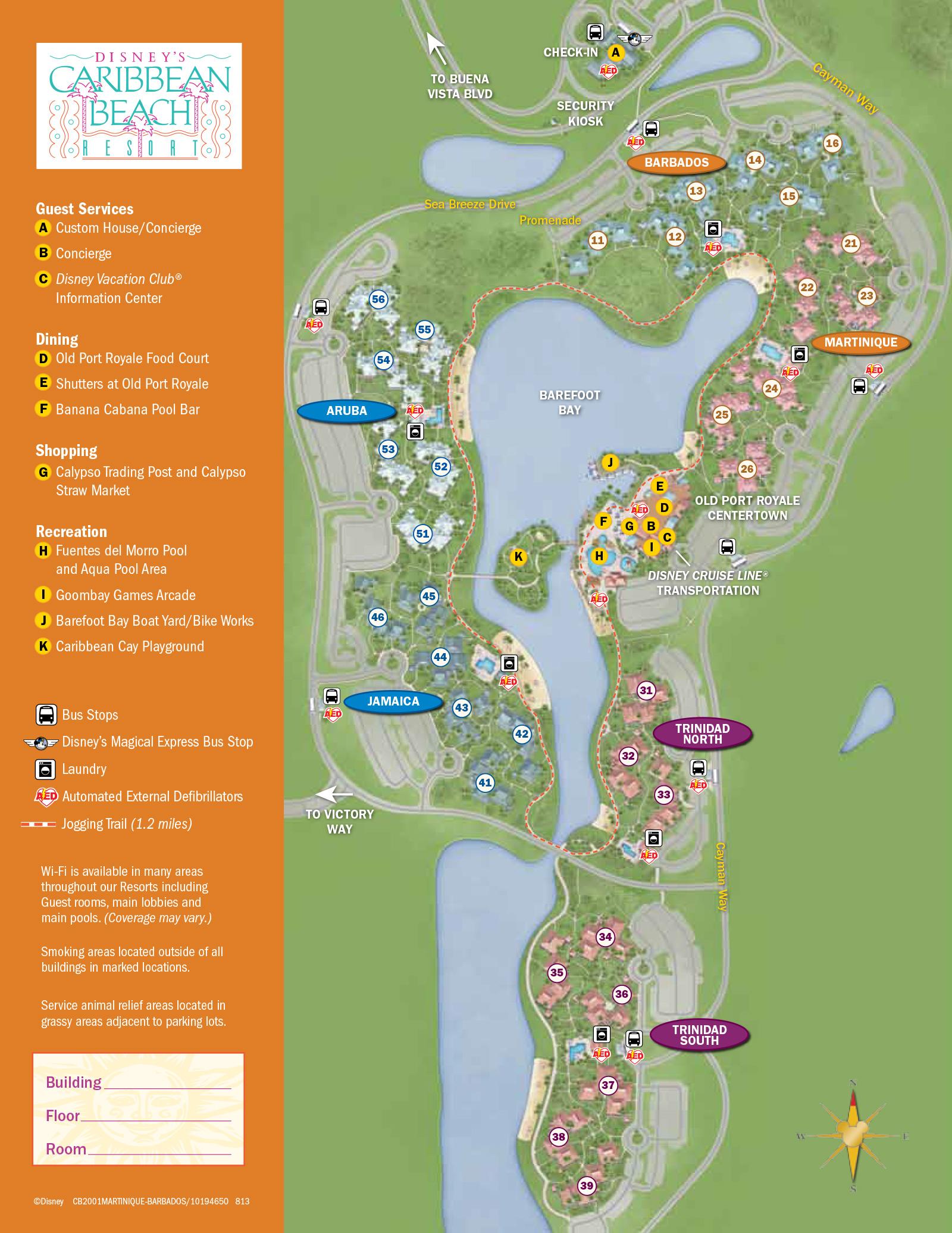 2013 Caribbean Beach Resort Guide Map