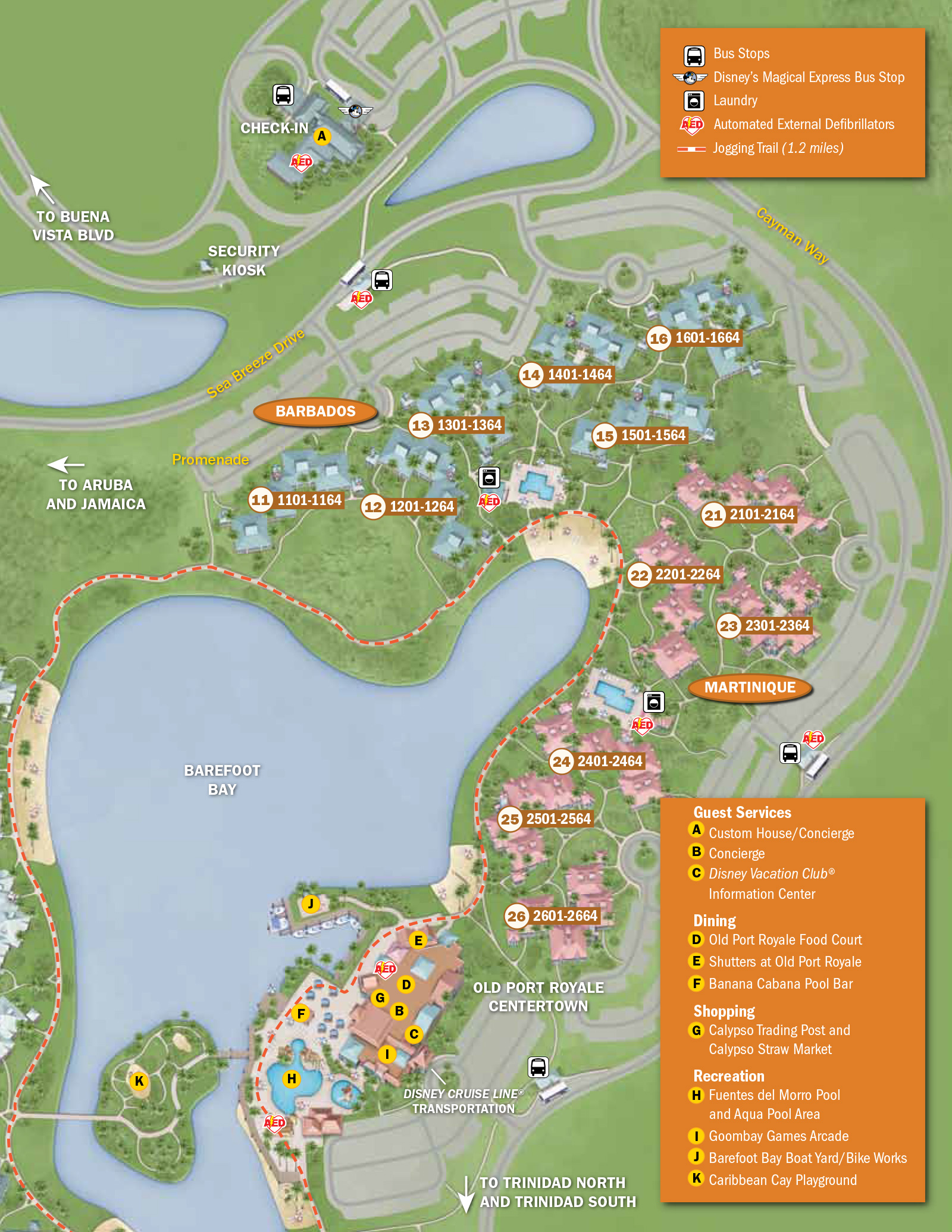 2013 Caribbean Beach Resort guide map - Photo 4 of 6