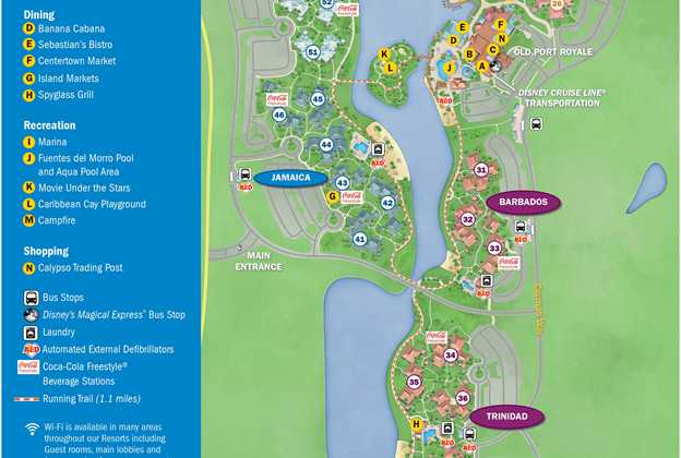 PHOTOS - New guide map for Disney\'s Caribbean Beach Resort