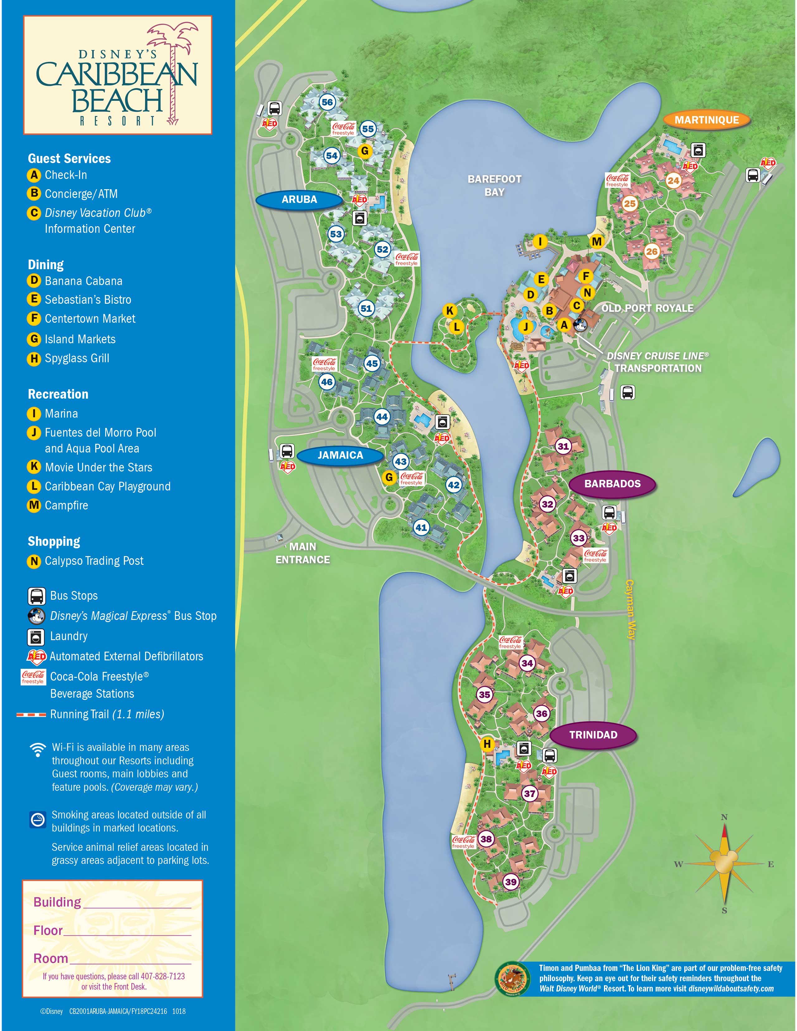 Updated Disney S Caribbean Beach Resort Map Photo 1 Of 2