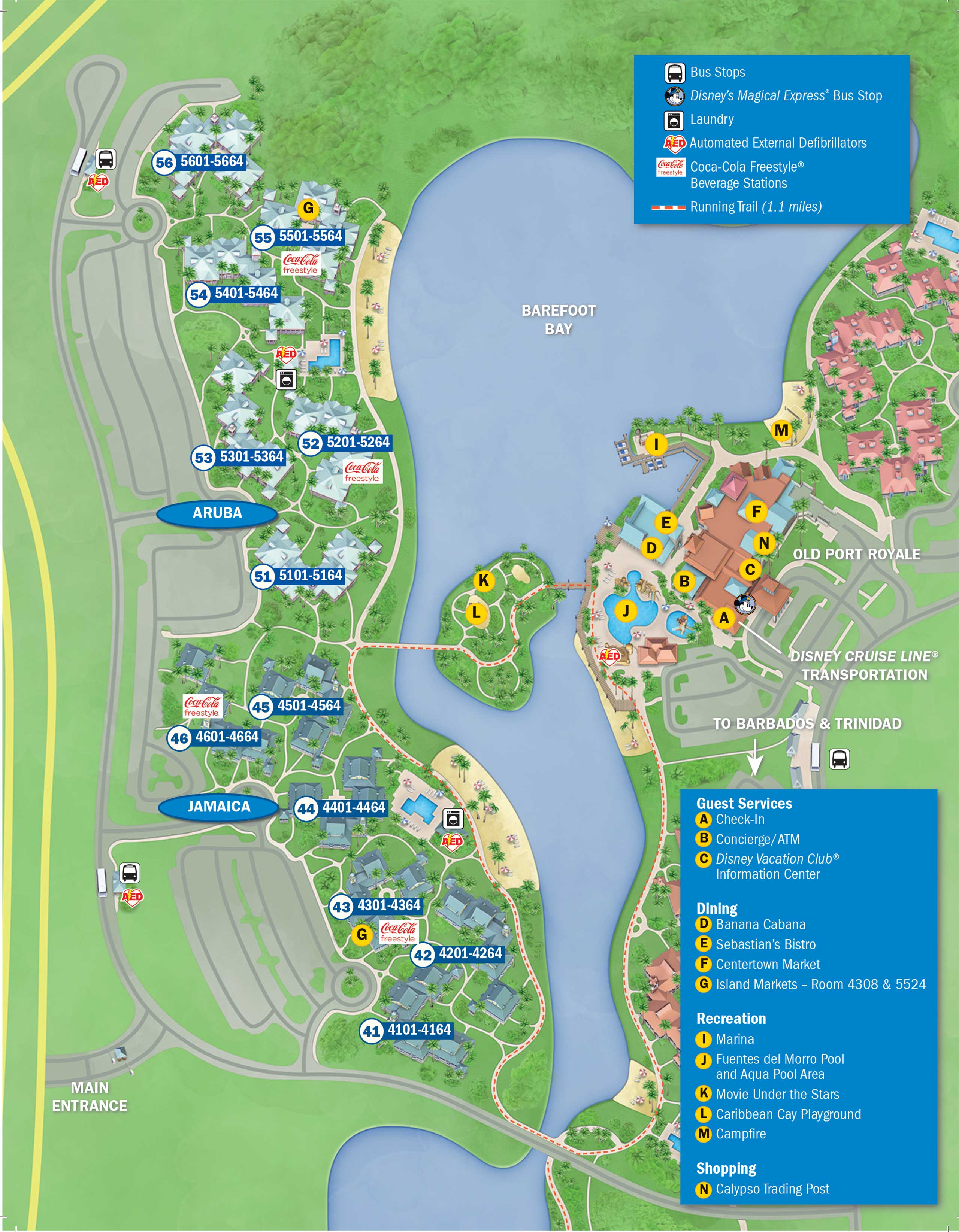 Updated Disney's Caribbean Beach Resort map - back