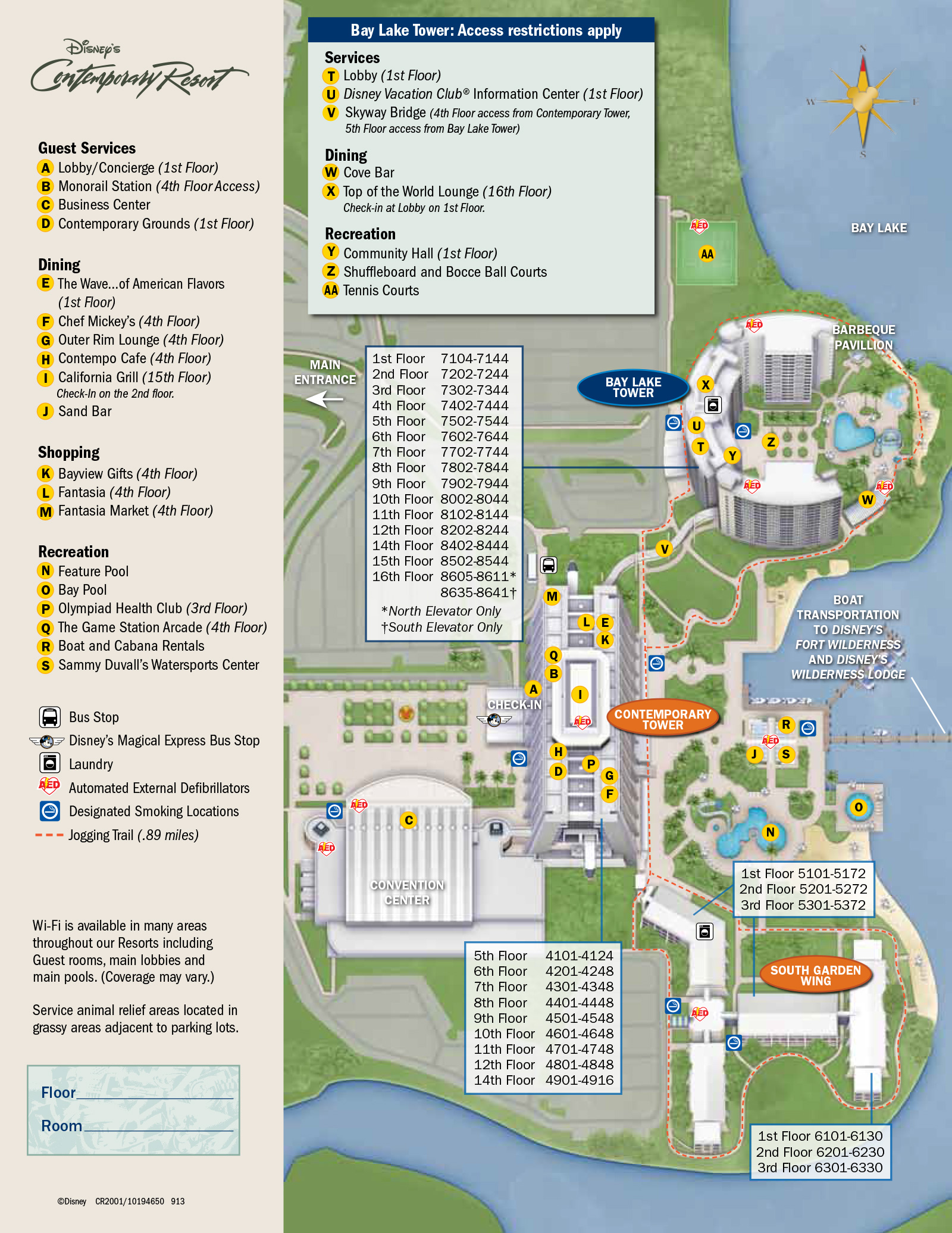 2013 Contemporary Resort guide map