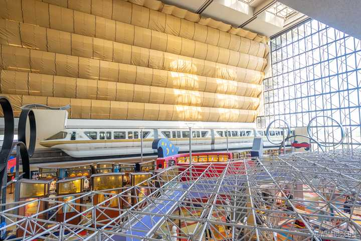 Disney's Contemporary Resort refurbishment gets underway with massive scrim in the main tower