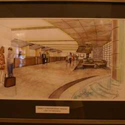 Contemporary lobby area construction and concept art