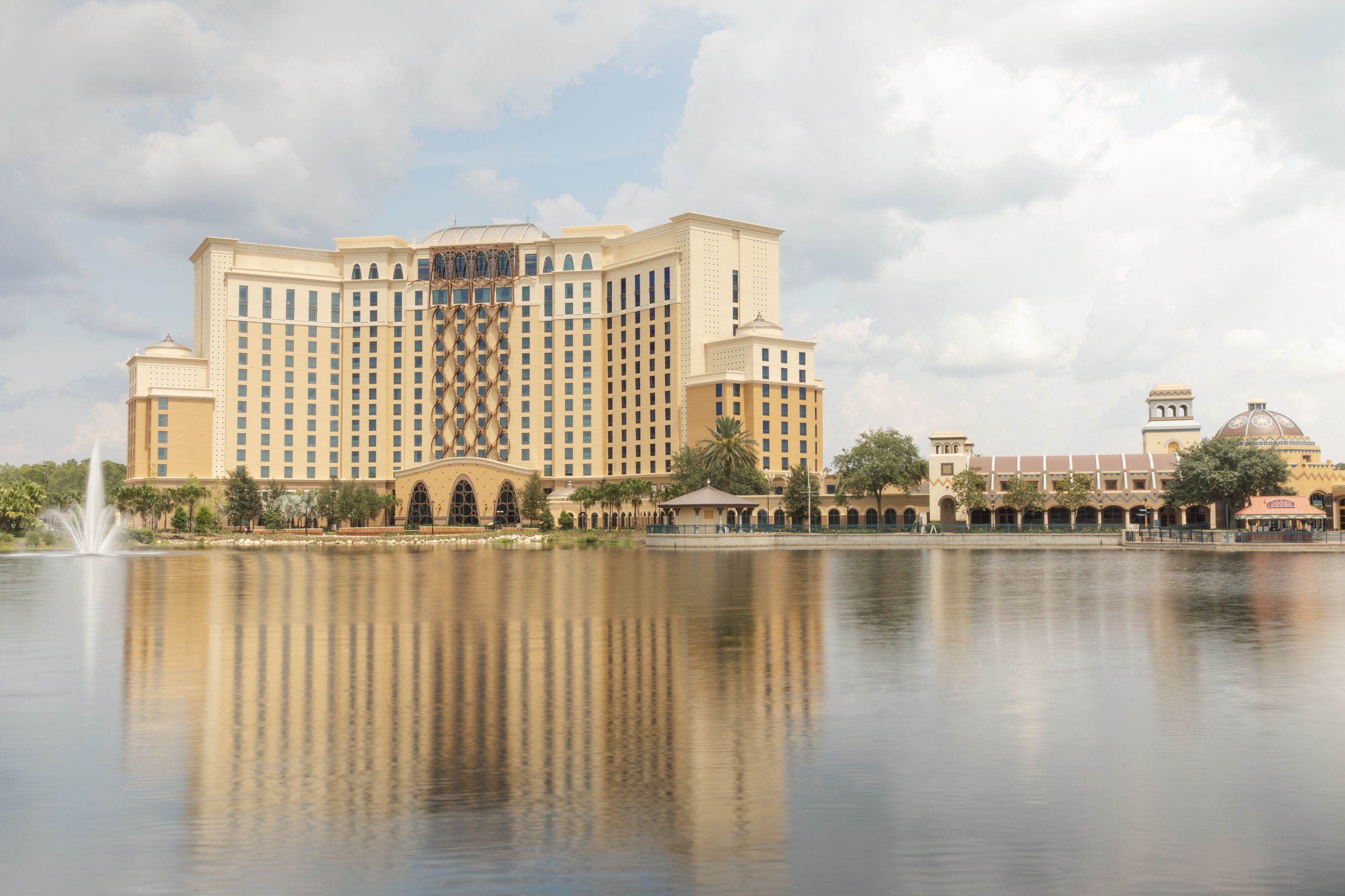 The Grand Destino Tower viewed across the lake