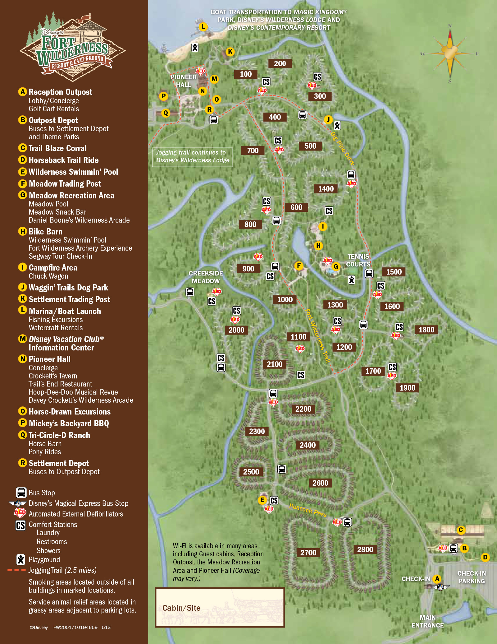 2013 Fort Wilderness guide map