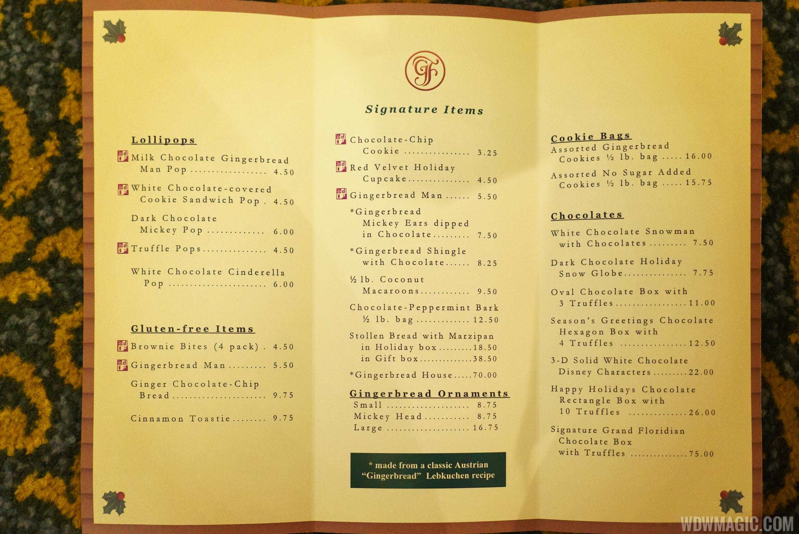 2015 Grand Floridian Gingerbread House menu