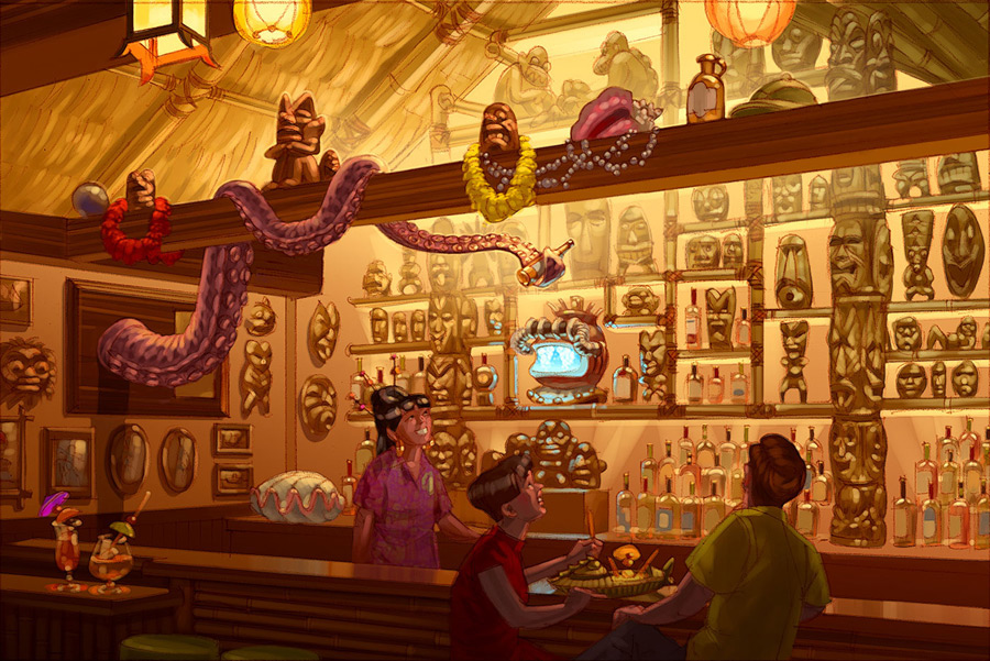 Concept art for the new Trader Sam's Grog Grotto at Disney's Polynesian Resort