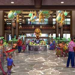 Polynesian Resort lobby and Trader Sam's concept art