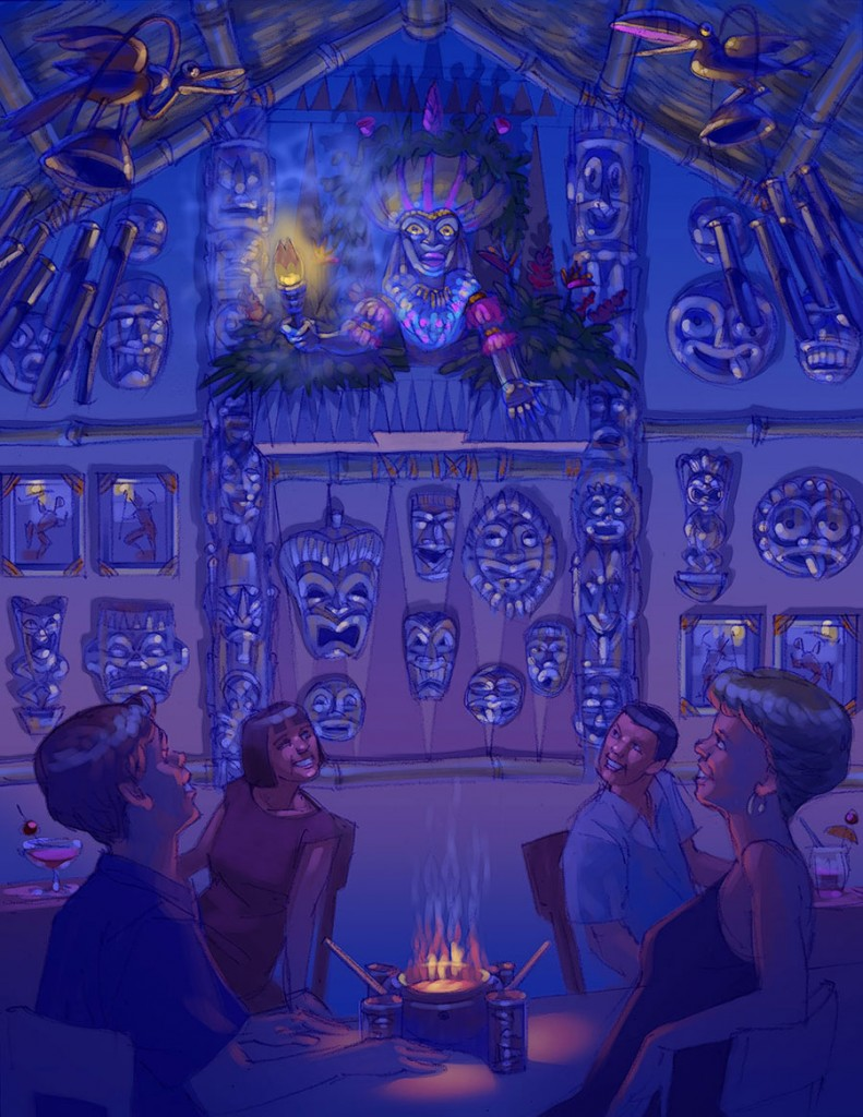 Concept art for Trader Sam's Grog Grotto