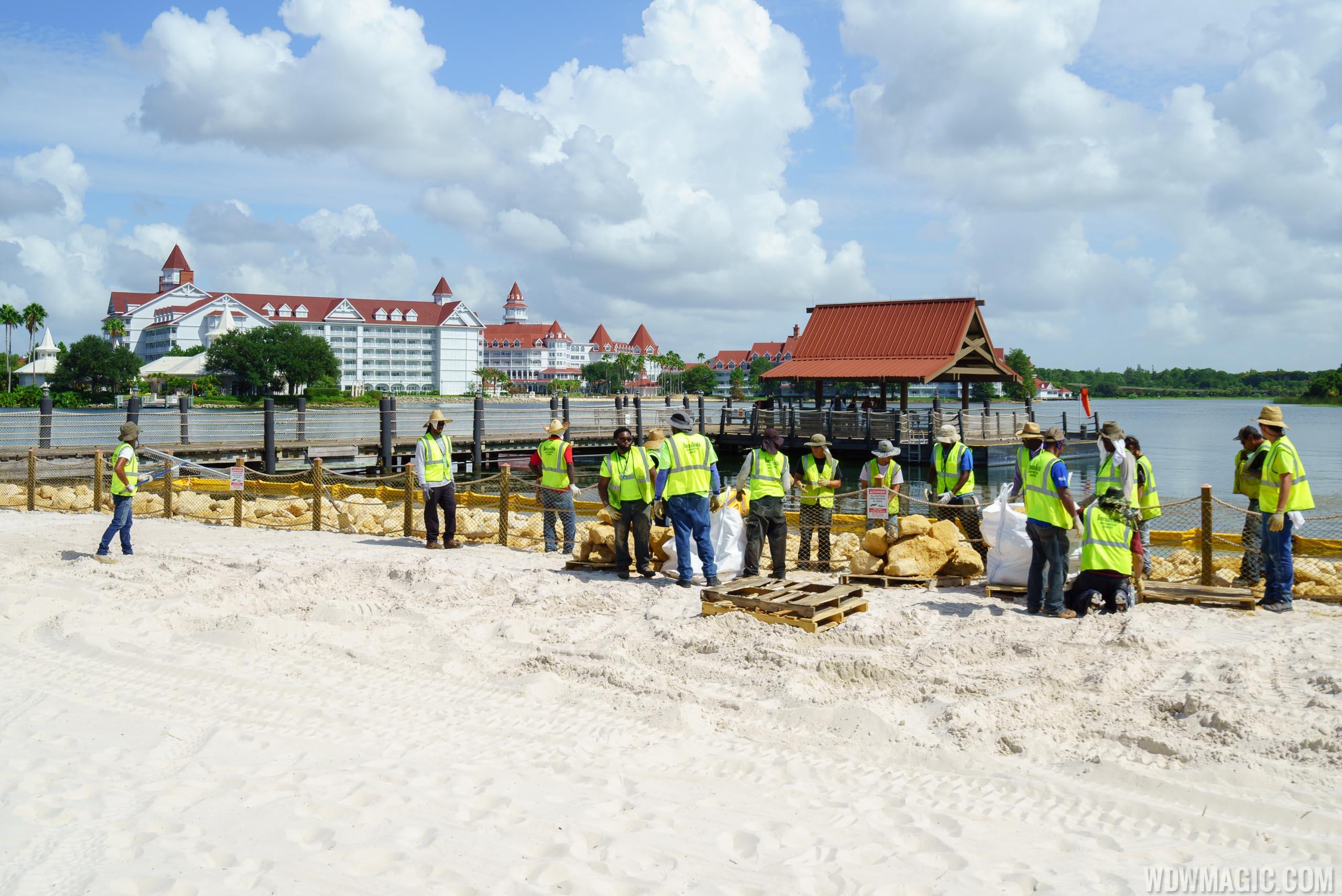 Polynesian Resort lagoon wall construction