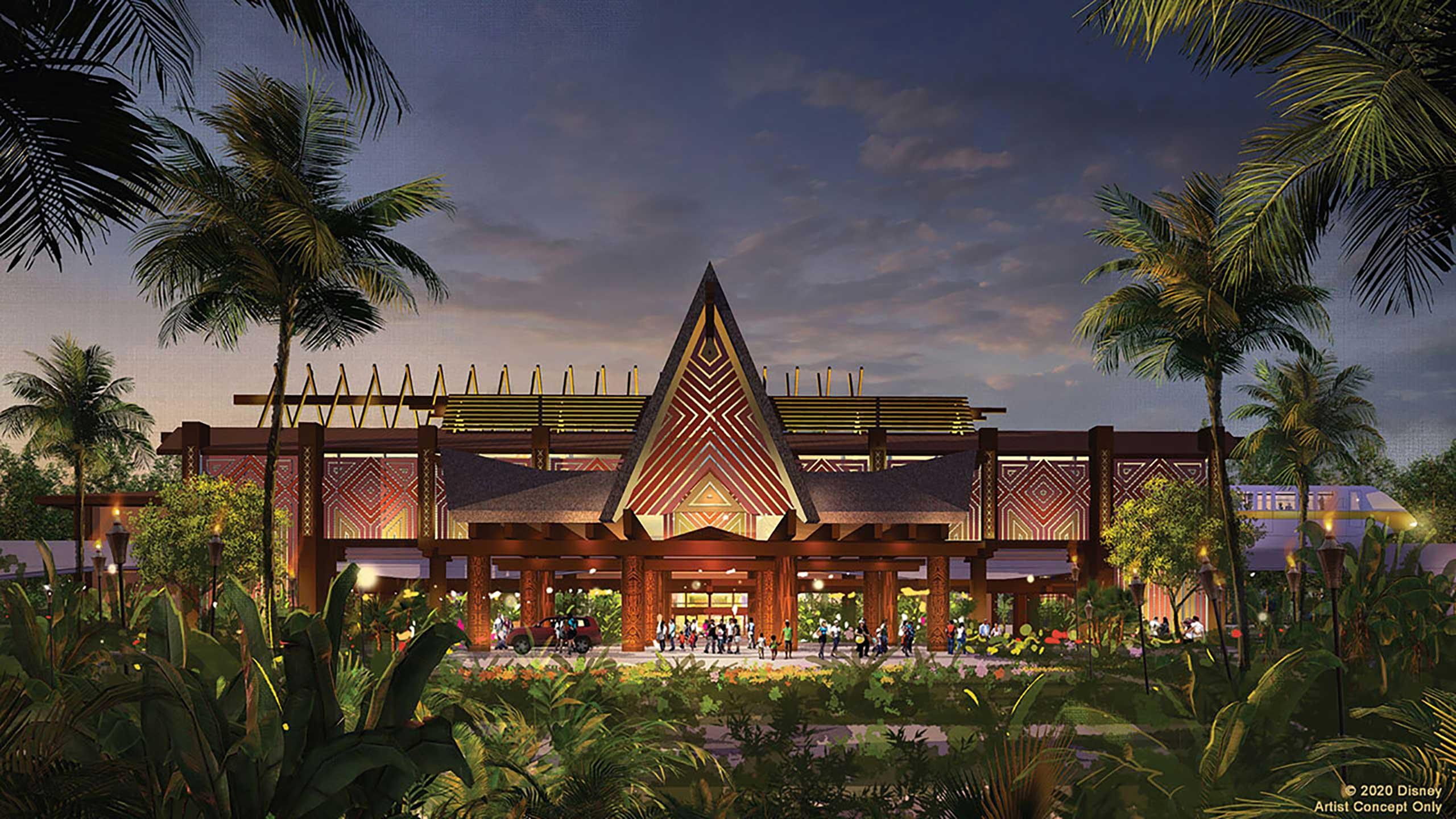Concept art of new look Polynesian Resort main entrance coming in 2021