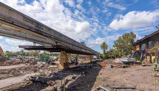 PHOTOS - Monorail station demolished as work continues on the new entrance at Disney's Polynesian Village Resort
