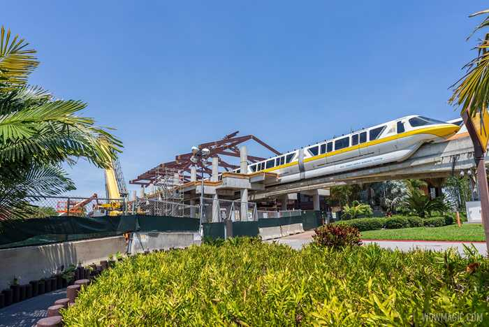Polynesian Village Resort monorail station construction - April 16 2021