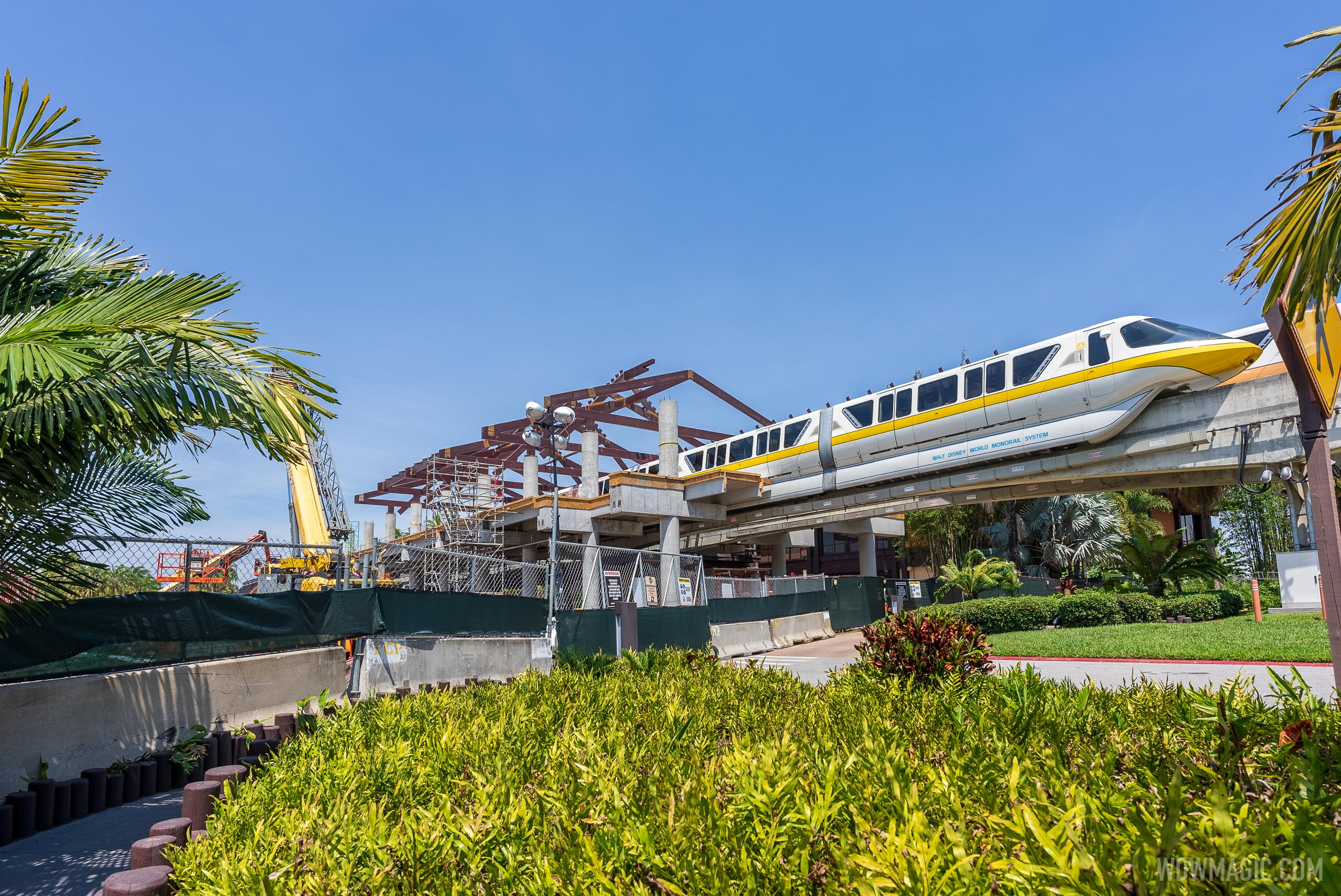 Polynesian Village Resort monorail station construction - April 16 2021