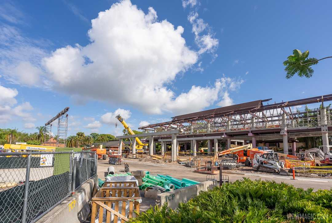 A look at construction of the new monorail station and arrival area at Disney's Polynesian Village Resort