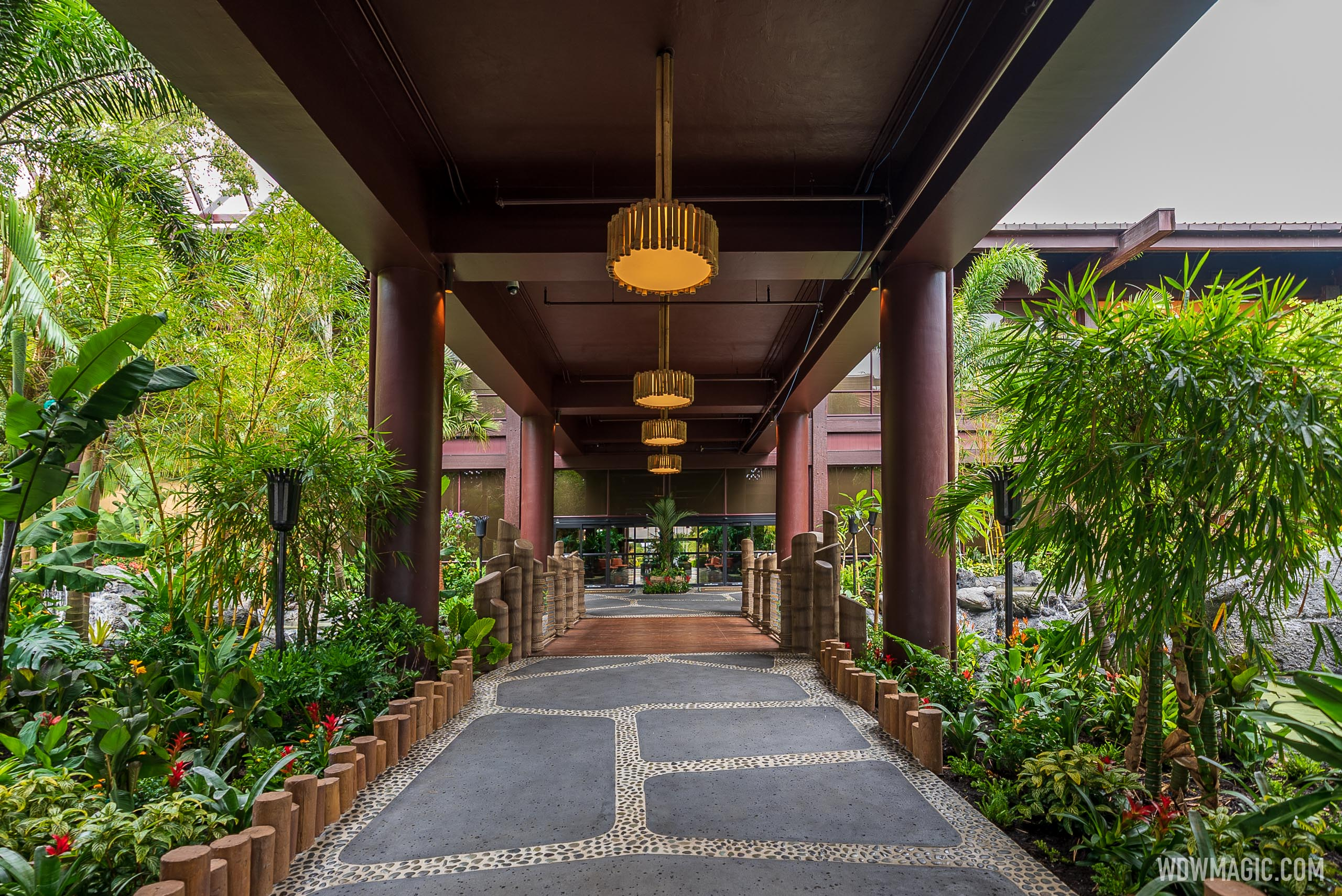 A look at the recently reopened main entrance at Disney's Polynesian Village Resort