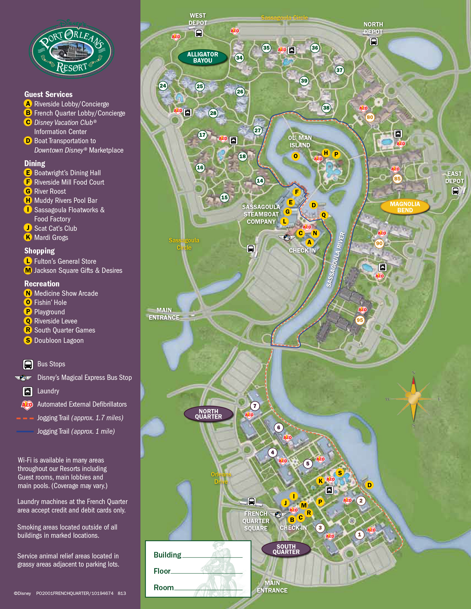 2013 Port Orleans French Quarter guide map
