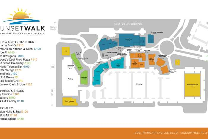 Sunset Walk at Margaritaville Resort Orlando site map