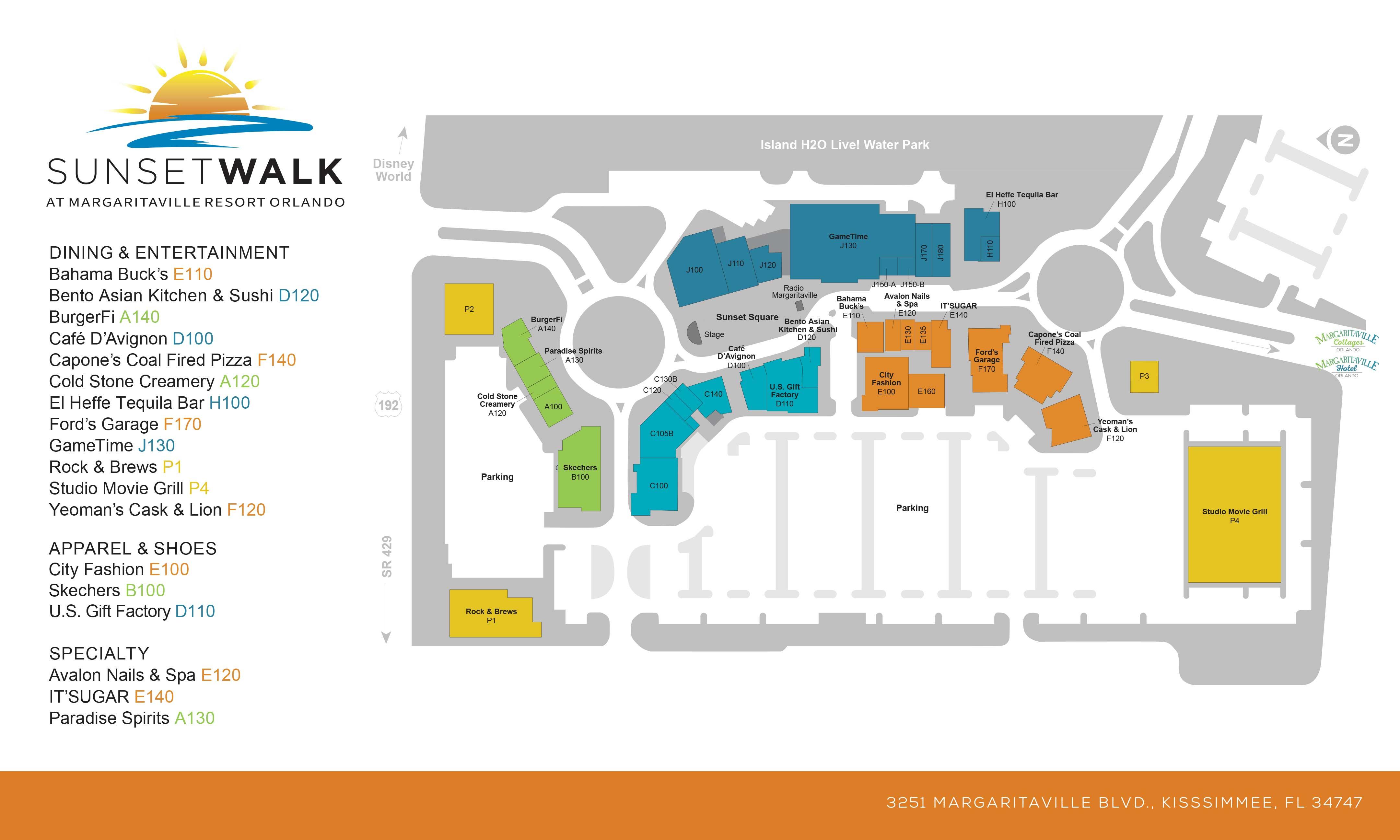 Sunset Walk at Margaritaville Resort Orlando site map