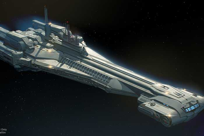 Star Wars Galactic Starcruiser concept art and model