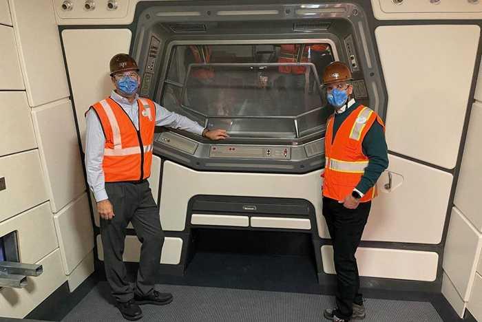 Jeff Vahle and Josh D'Amaro hard hat tour of Star Wars Galactic Starcruiser